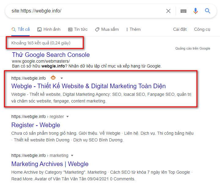 dấu hiệu nhận biết website đã được google index chưa