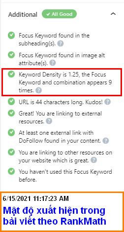 Mật độ focus keyword chuẩn RankMath SEO